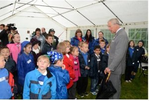 HRH the Prince of Wales talks to local schoolchildren