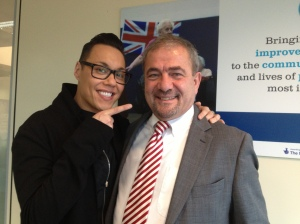 Mike Theodoulou with celebrity stylist Gok Wan during filming