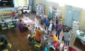 Interior of St Dyfrig's hall showing market stall event
