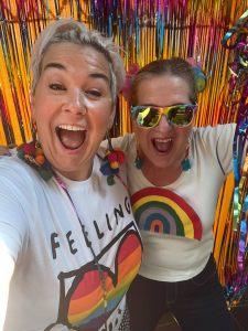 Two women celebrating