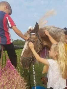 Two children petting a horse